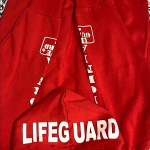 Hooded red Lifeguard sweatshirt.